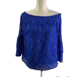 Lilly Pulitzer Tobyn Ikat Blue Lace Off-the-Shoulder Top in Blue